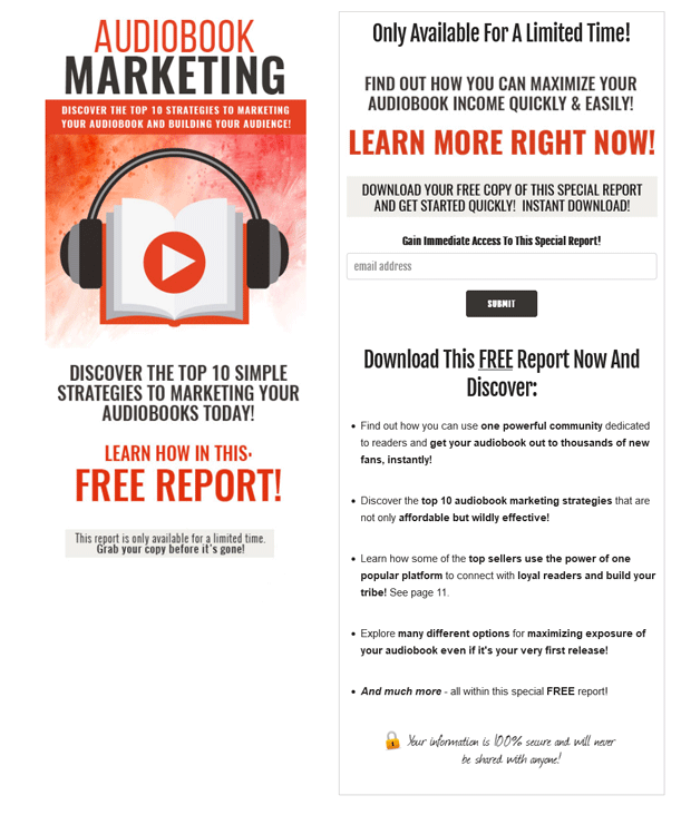 Audiobook Marketing PLR Squeeze Page