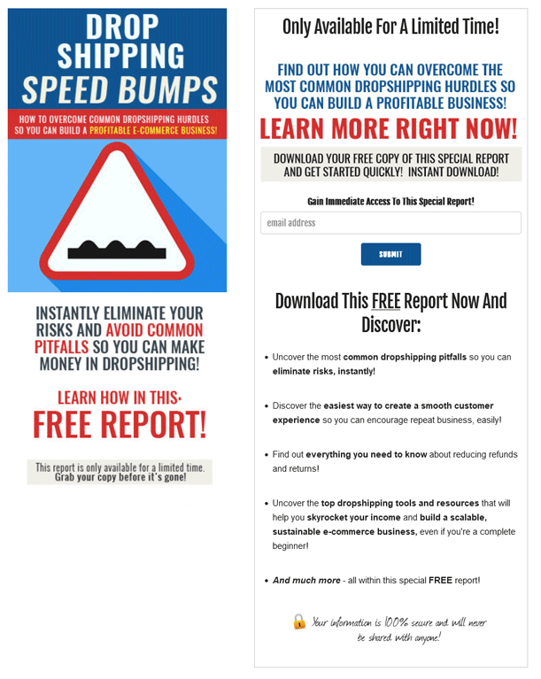 Dropshipping Speed Bumps PLR Squeeze Page