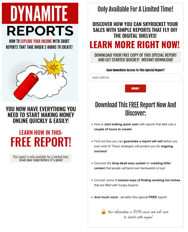Dynamite Reports PLR Squeeze Page