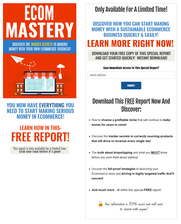 Ecom Mastery PLR Squeeze Page