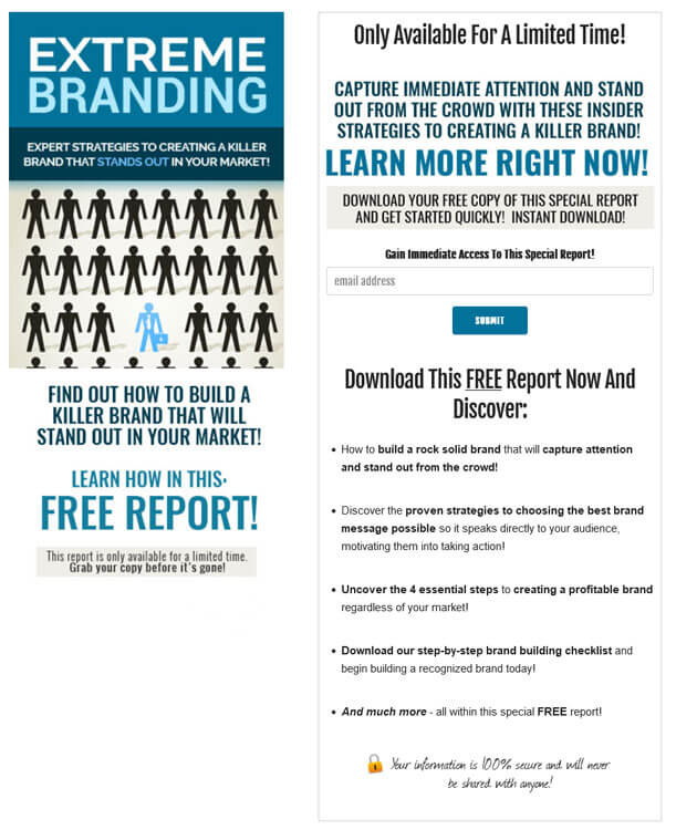 Extreme Branding PLR Squeeze Page