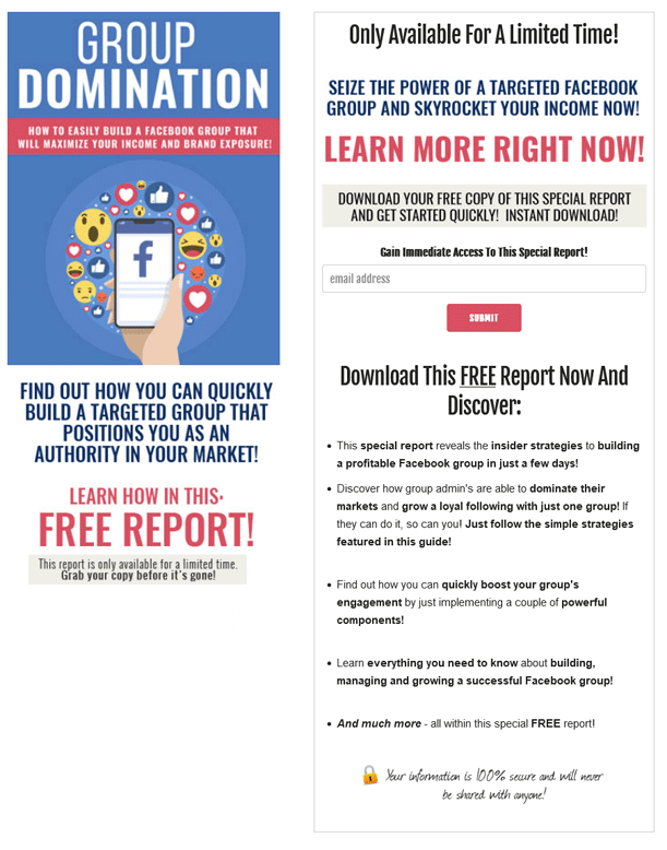 Group Domination PLR Squeeze Page