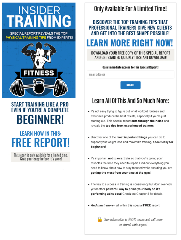Insider Training PLR Squeeze Page