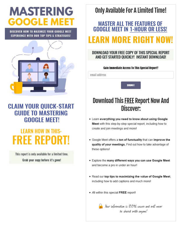 Mastering Google Meet PLR Squeeze Page