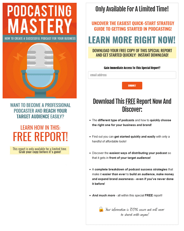 Podcasting Mastery PLR Squeeze Page