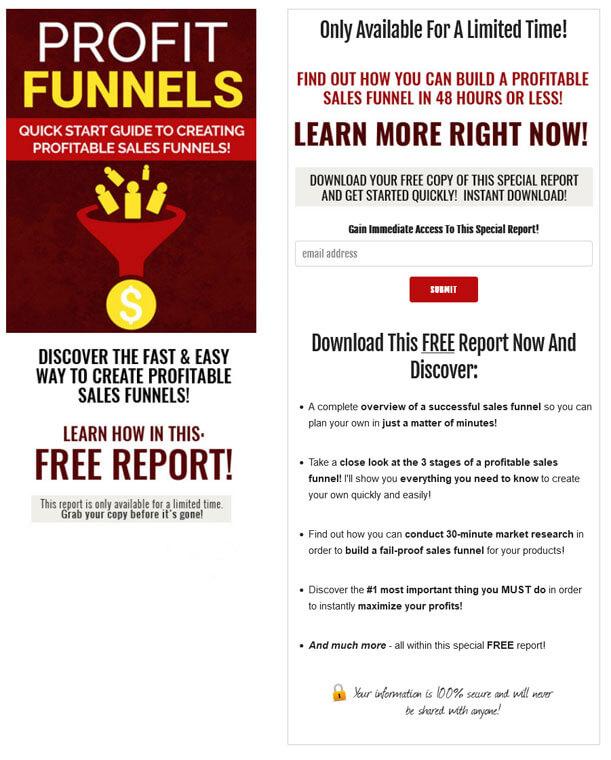 Profit Funnels PLR Squeeze Page