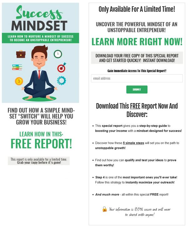 Success Mindset PLR Squeeze Page