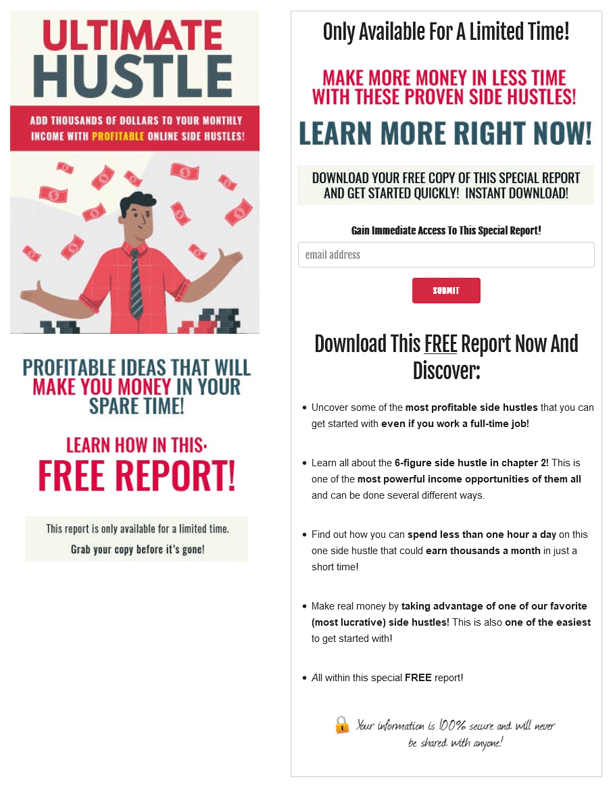 Ultimate Hustle PLR Squeeze Page