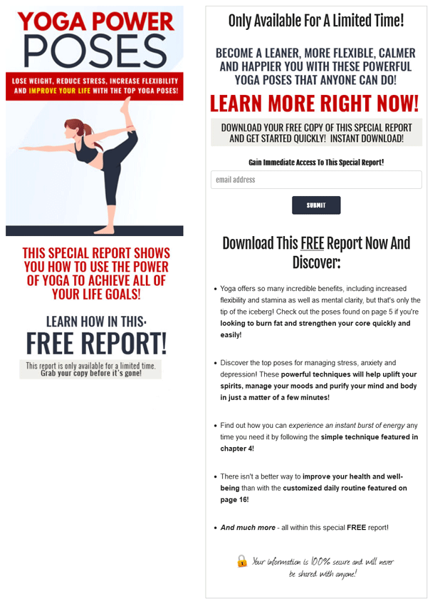 Yoga Power Poses PLR Squeeze Page