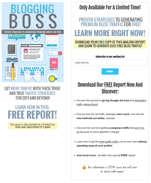 Blogging Boss PLR Squeeze Page