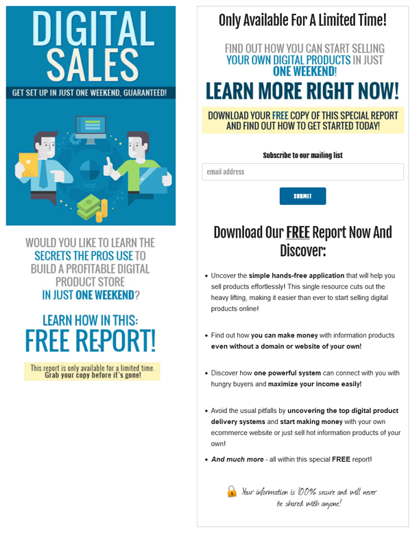 Digital Sales PLR Squeeze Page
