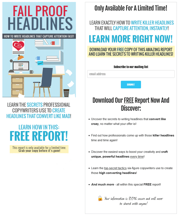 Fail Proof Headlines PLR Squeeze Page
