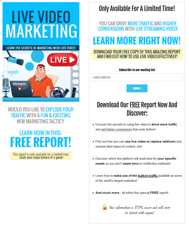 Live Video Marketing PLR Squeeze Page