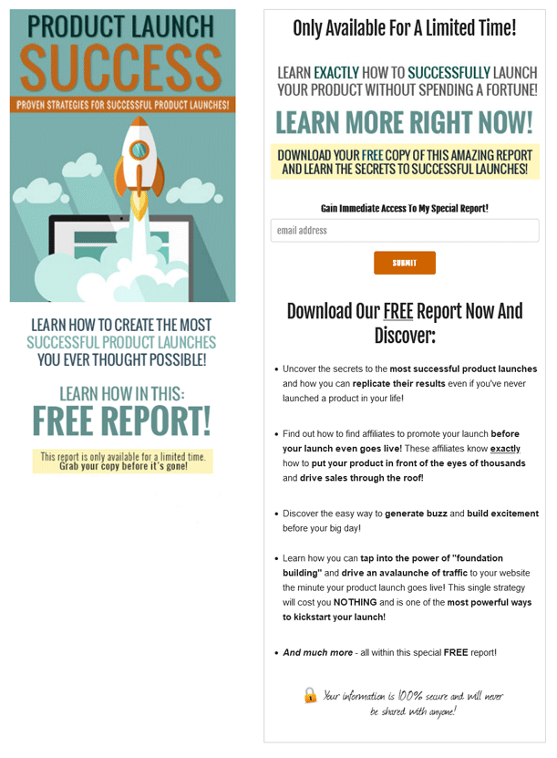 Product Launch Success PLR Squeeze Page