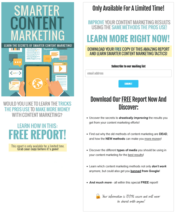 Smarter Content Marketing PLR Squeeze Page