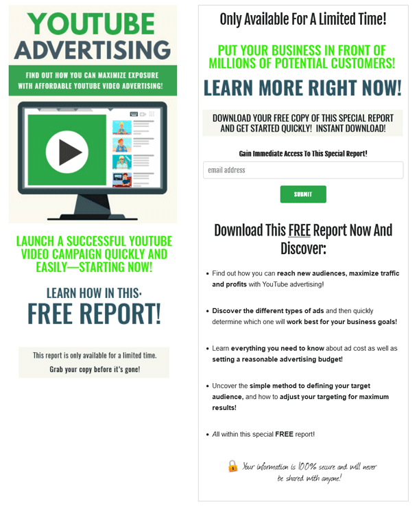 YouTube Advertising PLR Squeeze Page